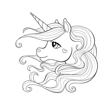 Cute cartoon unicorn head with long mane. Black and white vector illustration for coloring book