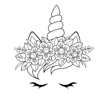Cute unicorn face with flowers wreath. Black and white vector illustration for coloring book
