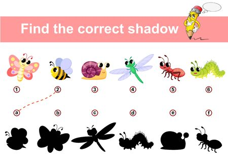 Find correct shadow. Kids educational game. Insects Butterfly, ant, bee, snail, caterpillar, dragonfly