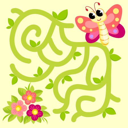 Help butterfly find path to flowers. Labyrinth. Maze game for kids