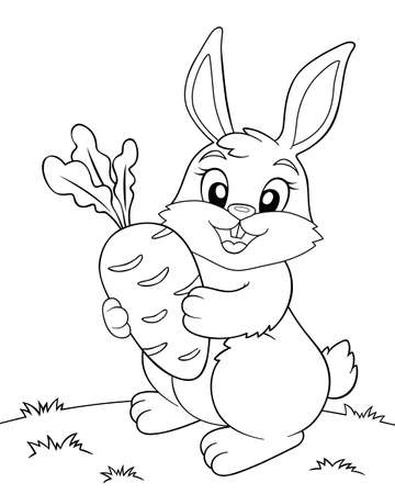 Cute cartoon bunny holding a carrot. Black and white vector illustration for coloring book Illustration
