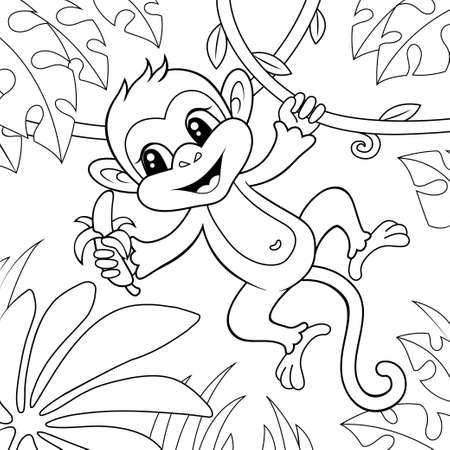 Cute little monkey with banana. Black and white vector illustration for coloring book