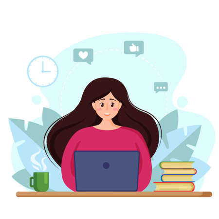 Beautiful young business woman working with laptop in social networks. Time to work. Vector illustration in flat style