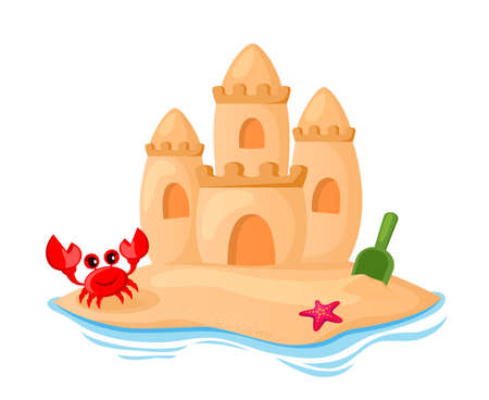 Sand castle, shovel, starfish and crab on the seaside. Children's summer vacation. Vector illustration isolated on white background