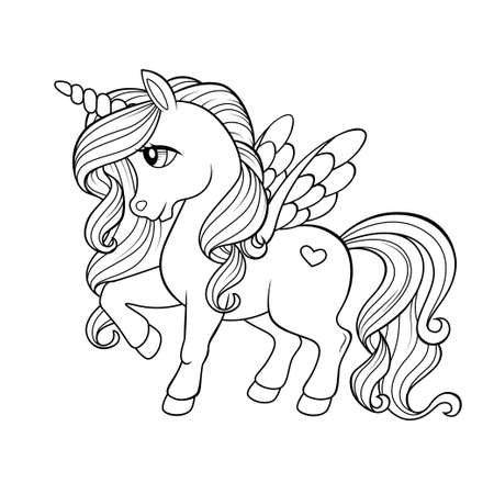 Cute cartoon pegasus. Pony princess. Unicorn Black and white vector illustration for coloring book Illustration