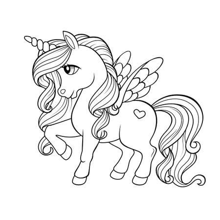 Cute cartoon pegasus. Pony princess. Unicorn Black and white vector illustration for coloring book 向量圖像