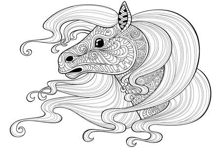 Horse with long hair.Tattoo or adult antistress coloring page. Black and white hand drawn doodle for coloring book Illustration