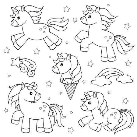 Set of cute cartoon unicorns. Black and white vector illustration for coloring book