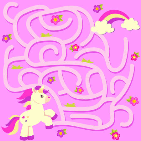 Help unicorn find path to rainbow. Labyrinth. Maze game for kids Illustration