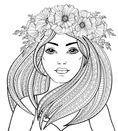 Young beautiful girl with long hair in poppy wreath. Tattoo or adult antistress coloring page. Black and white hand drawn doodle for coloring book 向量圖像