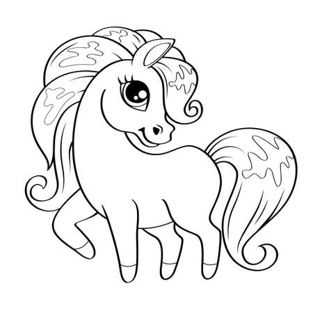 Cute little pony. Vector black and white illustration for coloring book