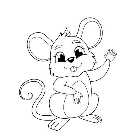 Cute cartoon mouse. Black and white vector illustration for coloring book