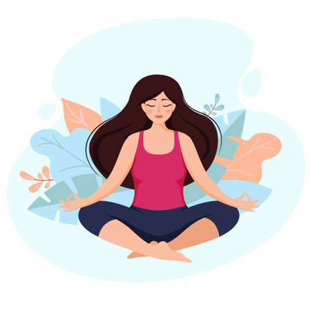 Beautiful girl in yoga lotus position. Young woman practice meditation