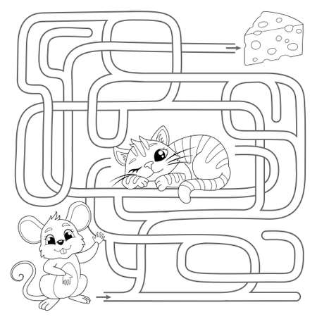 Help mouse find path to chees. Labyrinth. Maze game for kids. Vector black and white illustration for coloring book Illustration