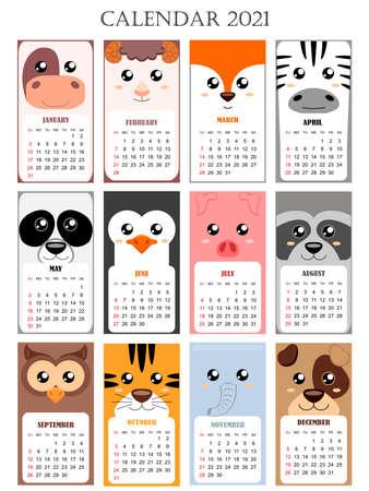 Calendar 2021 with cow, pig, sheep, fox, zebra, panda, penguin, raccoon, owl, tiger, elephant, dog