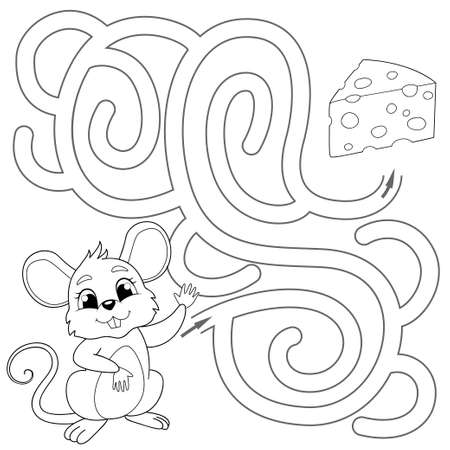 Help mouse find path to chees. Labyrinth. Maze game for kids. Vector black and white illustration for coloring book 向量圖像