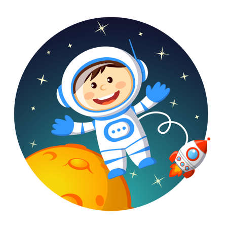 Cute cartoon astronaut in space