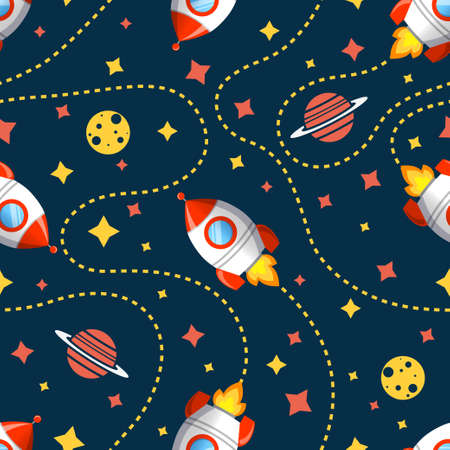 Seamless cosmic pattern with rocket, saturn, moon and star. Space pattern on dark background