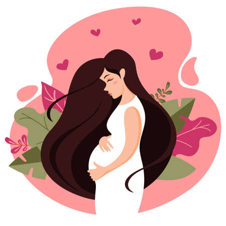 Pregnant woman in a white dress on a background of leaves. Cartoon healthy mother with long hair holds her hands on her stomach with baby. Young woman expecting a baby. Medicine, health or family conc