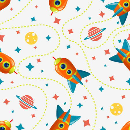 Seamless cosmic pattern with rocket, saturn, moon and star. Space pattern on white background
