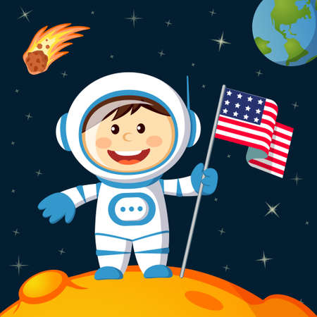 Astronaut with american flag stands on lunar. Space walk on moon 矢量图像