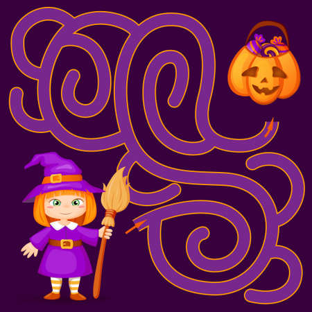 Help little witch find path to pumpkin with candy. Halloween theme. Labyrinth. Maze game for kids 向量圖像