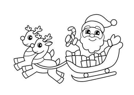 Santa Claus flying in sleigh with gifts and reindeer. Christmas and New Year illustration. Black and white vector illustration for coloring book 向量圖像