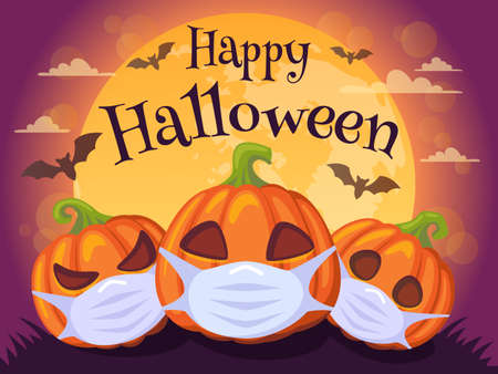 Happy Halloween 2020. Banner with pumpkins in medical mask, bat and moon. Stop Coronavirus. Covid-19. Stop the global pandemic