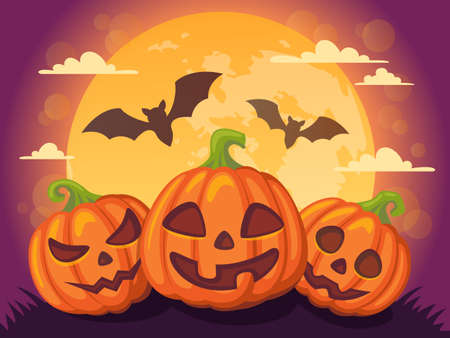 Halloween background with pumpkin, moon and bat Ilustrace