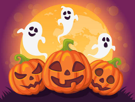 Halloween background with pumpkin, moon and ghosts