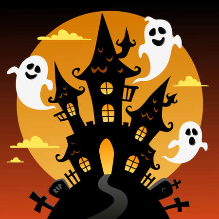 Halloween background with black castle, moon and ghosts Ilustrace