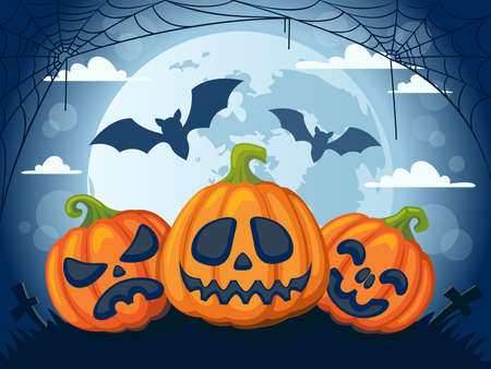 Halloween background with moon, pumpkins, bats and web
