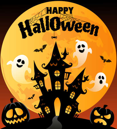 Happy Halloween. Background with black castle, moon, pumpkins, ghosts, bats, spider and web Ilustrace