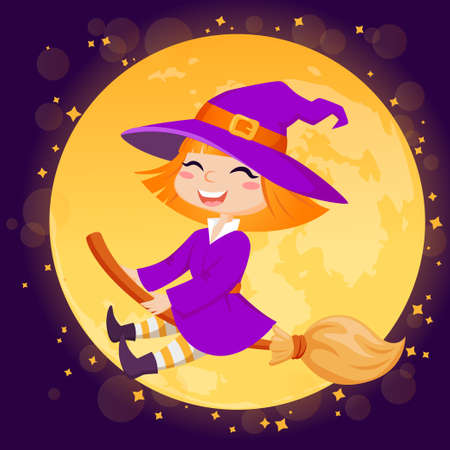 Halloween witch flying on broom on moon background