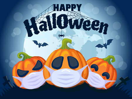 Happy Halloween 2020. Halloween banner with pumpkins in medical mask, bat and moon. Stop Coronavirus. Covid-19. Stop the global pandemic