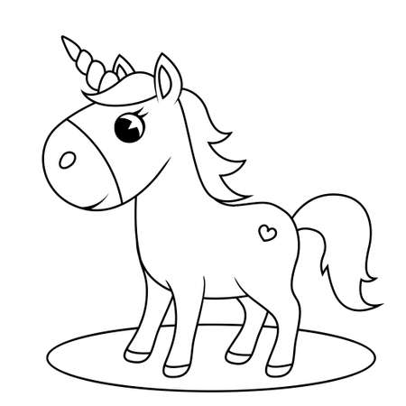 Cute little unicorn. Black and white vector illustration for coloring book