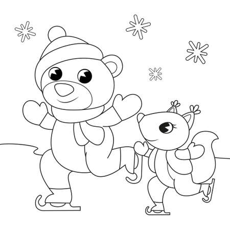 Cute cartoon bear and squirrel skating. Christmas and New Year illustration. Black and white vector illustration for coloring book