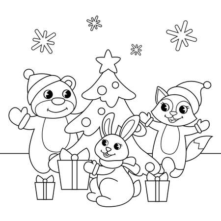 Cute cartoon bear, fox and bunny around Christmas tree. New Year illustration. Black and white vector illustration for coloring book