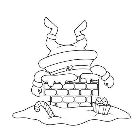 Santa Claus stuck in the chimney. Merry Christmas and Happy New Year. Black and white illustration for coloring book