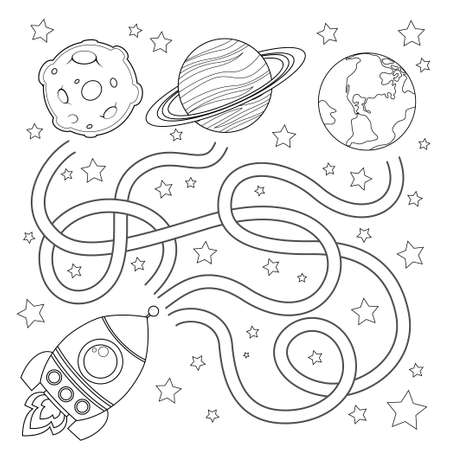 Help rocket find path to Earth. Labyrinth. Maze game for kids. Black and white illustration for coloring book