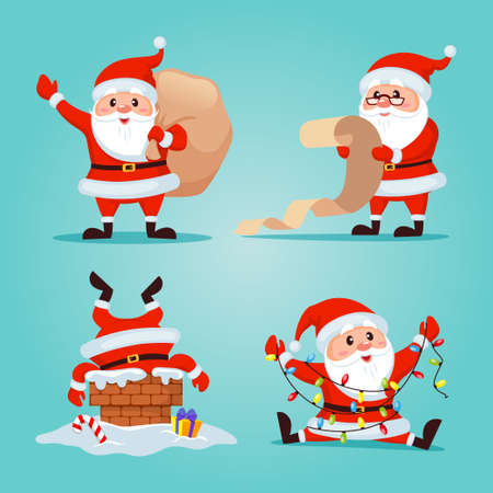 Set of Santa Claus. Merry Christmas and Happy New Year