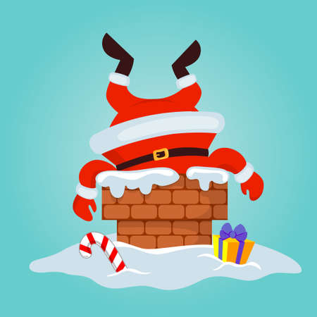 Santa Claus stuck in the chimney. Merry Christmas and Happy New Year 向量圖像