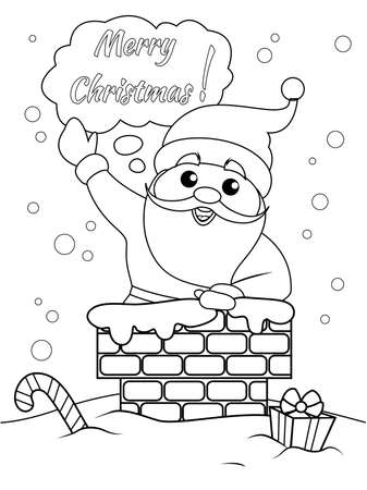 Santa Claus stuck in the chimney and say Merry Christmas. New Year holidays. Black and white vector illustration for coloring book 向量圖像