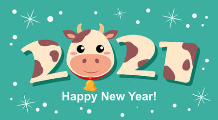 Sign 2021 with cow face. Bull. Simbol of chinese new year