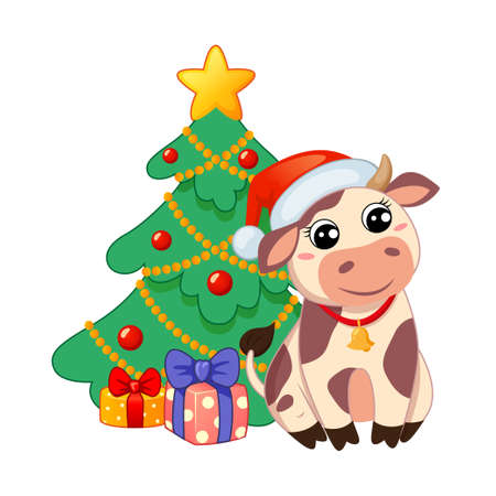 Cute cartoon cow in Santa Claus hat sitting near new year tree and Christmas gifts