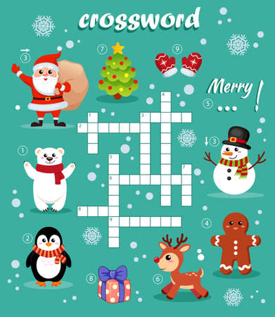 Crossword puzzle game of Christmas and New year theme