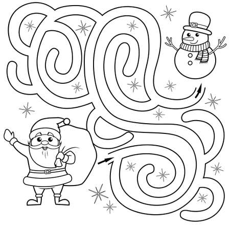 Help Santa Claus find path to snowman. Labyrinth. Maze game for kids. Black and white vector illustration for coloring book