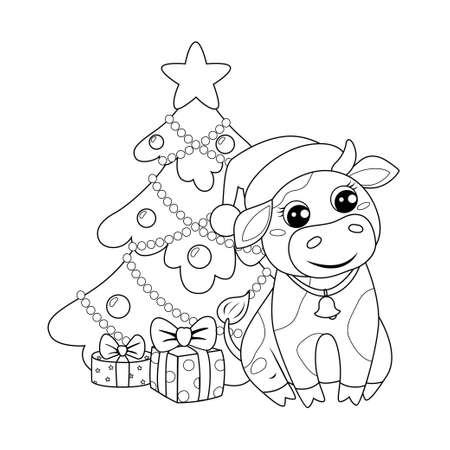 Cute cartoon cow in Santa Claus hat sitting near new year tree and Christmas gifts. Black and white vector illustration for coloring book