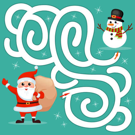 Help Santa Claus find path to snowman. Labyrinth. Maze game for kids