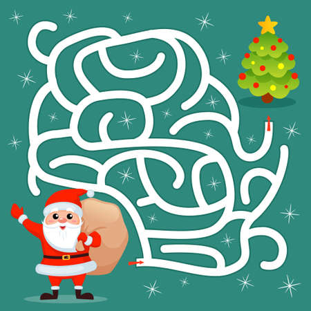 Help Santa Claus find path to christmas tree. Labyrinth. Maze game for kids